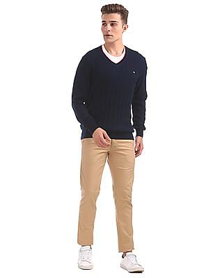 Arrow Sports Cable Knit V-Neck Sweater