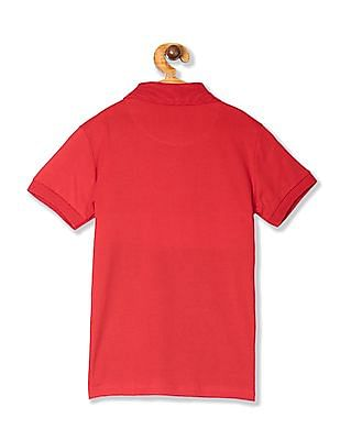 FM Boys Red Boys Panelled Short Sleeve Polo Shirt