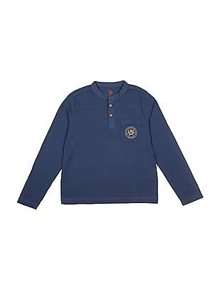 U.S. Polo Assn. Kids Boys Solid Cotton Henley T-Shirt