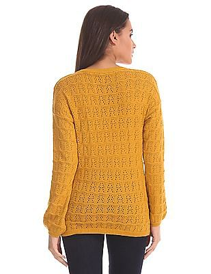 Elle Ribbed Neck Pointelle Sweater
