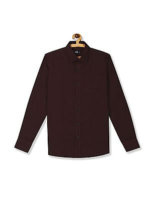 Roots by Ruggers Red Semi Cutaway Collar Solid Shirt