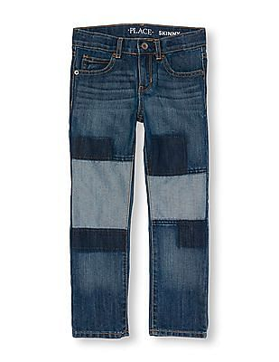 The Children's Place Boys Skinny Patch Jeans