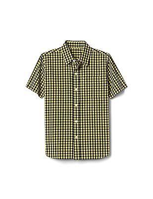 GAP Boys Yellow Gingham Short Sleeve Poplin Shirt