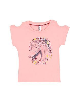 U.S. Polo Assn. Kids Girls Pony Print Cold Shoulder Top