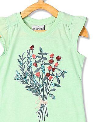 Cherokee Girls Embroidered Cap Sleeve Top