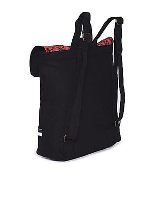 Bronz Black Pom Pom Printed Backpack