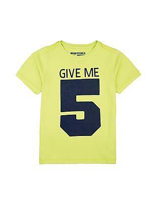 FM Boys Boys Numeric Print Slim Fit T-Shirt