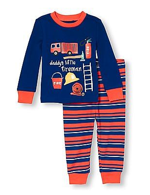 The Children's Place Baby And Toddler Boy Long Sleeve 'Daddy's Little Fireman' Graphic Top And Striped Pants PJ Set