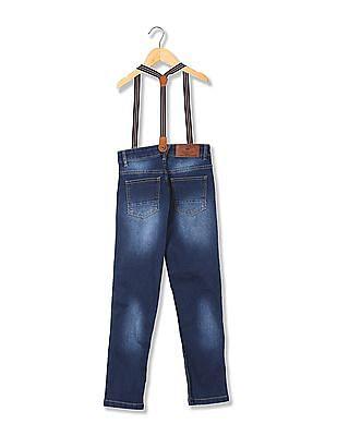 Cherokee Boys Slim Fit Jeans With Suspenders