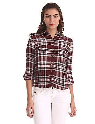 Flying Machine Women Red Spread Collar Check Shirt