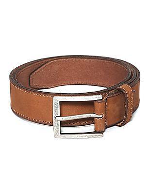 U.S. Polo Assn. Brown Metallic Buckle Leather Belt