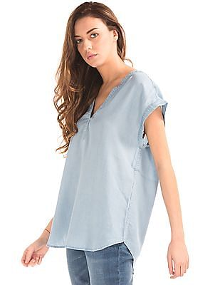 GAP Women Blue Washed Chambray Top