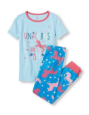 The Children's Place Girls Assorted Short Sleeve Glow-In-The-Dark 'Unicorns Are My BFF' Top And Unicorn Print Pants PJ Set