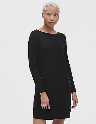 GAP Zip-Pockets Long Sleeve A-Line Dress