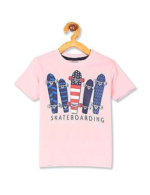 Cherokee Pink Boys Crew Neck Skate Graphic T-Shirt