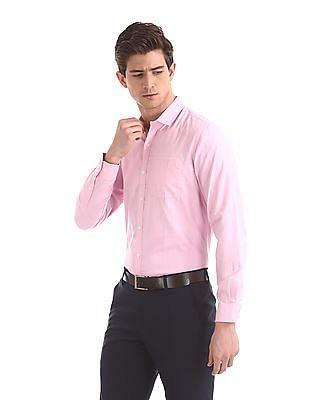 Excalibur Pink Mitered Cuff Twill Weave Shirt