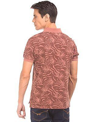 U.S. Polo Assn. Denim Co. Fern Print Muscle Fit Polo Shirt