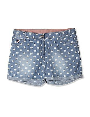 U.S. Polo Assn. Kids Girls Star Printed Chambray Shorts