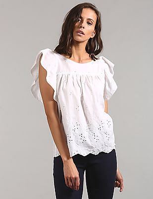 379336040991b7 Buy Women Eyelet Embroidery Flutter Sleeve Top online at NNNOW.com