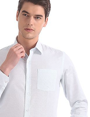 Arrow White Slim Fit Printed Shirt