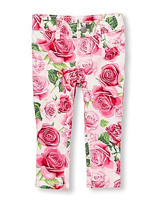 The Children's Place Toddler Girl Rose Print Knit Jeggings