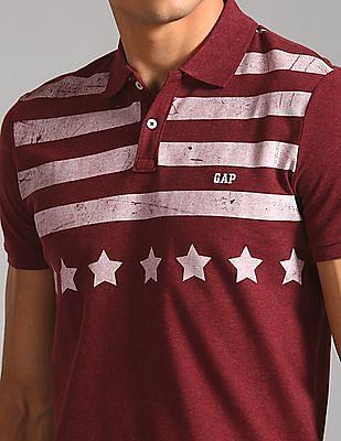 GAP Men Red Short Sleeve Striped Polo Shirt