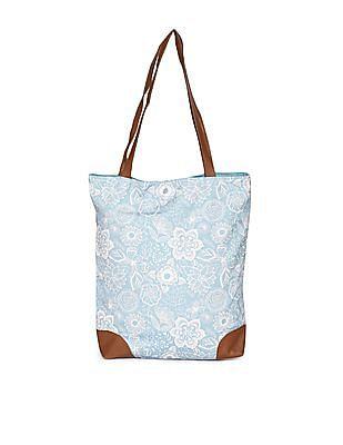 SUGR Blue Printed Cotton Tote Bag