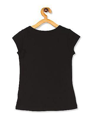 The Children's Place Girls Black Short Sleeve Sequin Leopard Graphic T-Shirt