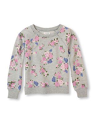 The Children's Place Girls Grey Crew Neck Floral Print Sweatshirt