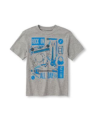 The Children's Place Boys Short Sleeve 'Rock On All Day' Graphic Tee