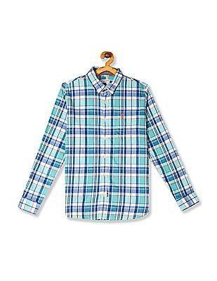 U.S. Polo Assn. Kids Green Boys Button Down Collar Check Shirt