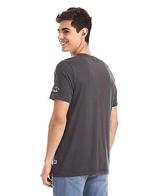 Cherokee Grey Printed Front Cotton T-Shirt