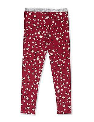 U.S. Polo Assn. Kids Red Girls Shimmery Waistband Star Print Leggings