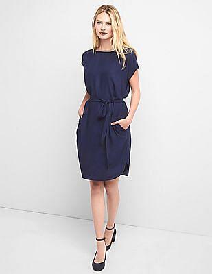 GAP Women Blue Tie Belt Shift Dress