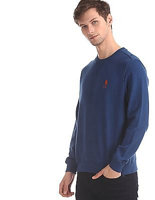 U.S. Polo Assn. Blue Crew Neck Solid Sweatshirt