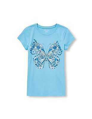 The Children's Place Girls Short Sleeve Glitter Butterfly Graphic Tee