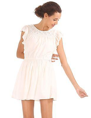 Aeropostale Lace Yoke Flutter Sleeve Dress