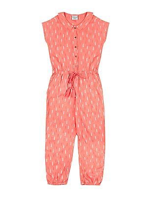Cherokee Girls Printed Drawstring Waist Jumpsuit