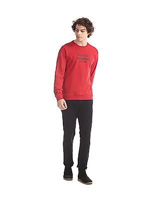 Flying Machine Red Crew Neck Brand Print Sweatshirt