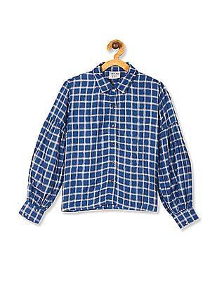 Cherokee Blue Girls Lantern Sleeve Check Shirt