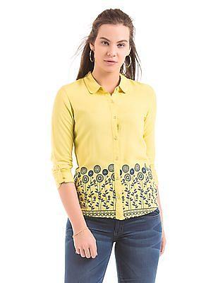 Bronz Printed High Low Hem Shirt