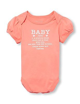 The Children's Place Baby Girls Short Sleeve Glitter 'Baby' Defined Graphic Bodysuit