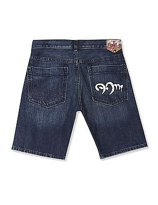 Flying Machine Prince Slim Fit Washed Denim Shorts