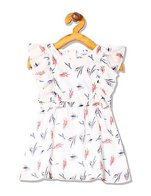 Donuts Girls Ruffle Trim Printed Fit And Flare Dress