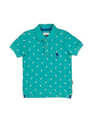 U.S. Polo Assn. Kids Boys Pineapple Print Polo Shirt