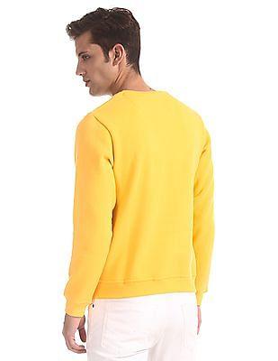 Flying Machine Yellow Crew Neck Brand Print Sweatshirt