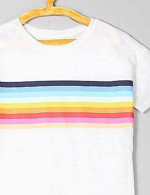 GAP Girls Chest-Stripe Short Sleeve T-Shirt