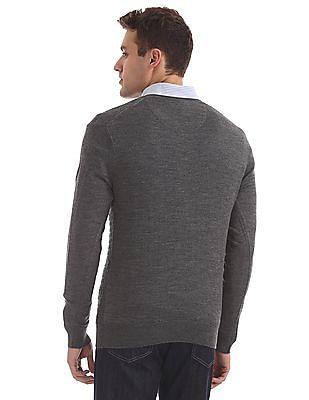 Arrow Ribbed Neck Long Sleeve Sweater