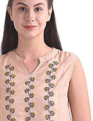Bronz Mandarin Neck Embroidered Top