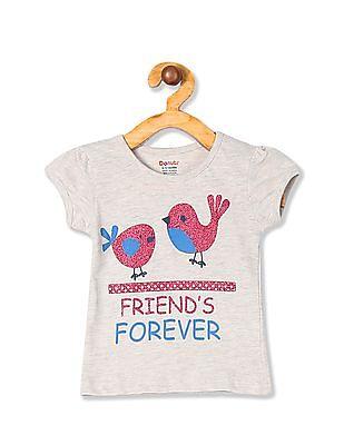 Donuts Girls Short Sleeve Glitter Graphic T-Shirt